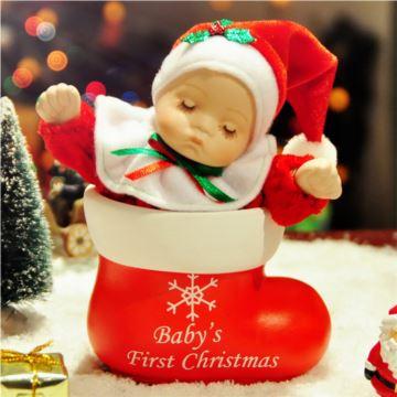 陶瓷摇头娃娃八音盒音乐盒圣诞袜玩具圣诞节特别礼物送小孩女友生日