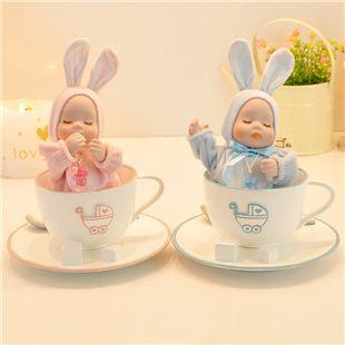 台湾万山18音咖啡杯陶瓷摇头娃娃音乐盒八音盒生 天空之城 创意生日儿童礼物