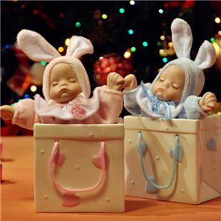 台湾万山WSA18音购物袋陶瓷摇头娃娃音乐盒八音盒 创意生日礼物送女生