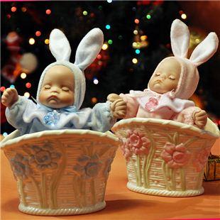 台湾万山WSA18音花盆陶瓷摇头娃娃音乐盒八音盒 结婚创意礼物婚庆礼品送女生