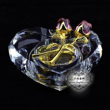 韵升雷曼士水晶粉色玫瑰音乐盒八音盒YB8C38A创意送女生日情人节礼物