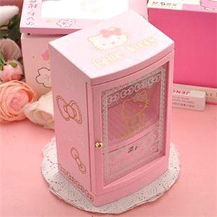 日本Sankyo粉色KT Hello Kitty生日跳舞芭蕾首饰盒装饰盒八音盒音乐盒 创意生日礼物品