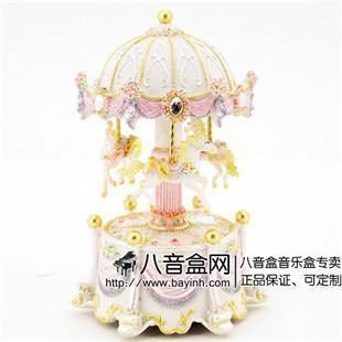 台湾万山白色发光彩灯旋转木马音乐盒八音盒天空之城创意送女生日礼物
