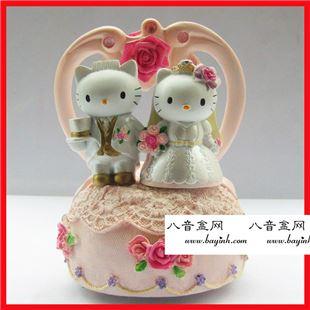 日本Sankyo hello kitty婚礼旋转八音盒音乐盒 创意结婚礼物婚房实用