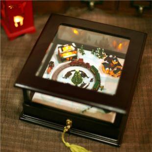 美国进口旋转火车木质钢琴sankyo音乐盒八音盒生日礼物精品创意礼品送女生