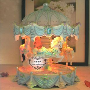 台湾万山可升降旋转木马音乐盒八音盒天空之城创意送女生日圣诞节礼物