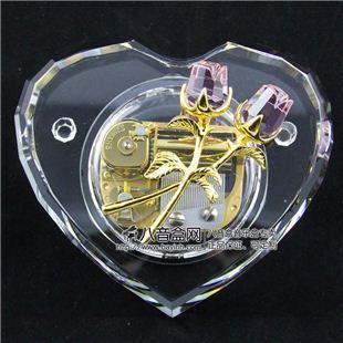 雷曼士30音粉色水晶玫瑰八音盒音乐盒Y30C38A创意结婚庆送女生日礼物