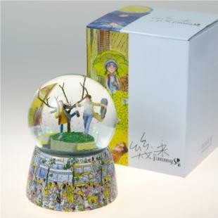 正品幾米几米公车之恋水晶球音乐盒八音盒 创意七夕情人节送男女朋友生日礼物 摆件