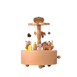 Jeancard木质旋转八音盒音乐盒送宝宝生日特别礼物儿童创意礼品家居摆件