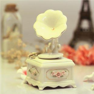 美国COSMOS陶瓷留声机唱片机音乐盒八音盒 创意送女生日礼物品 结婚庆家居摆件