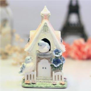 美国COSMOS陶瓷田园小鸟报鸣音乐盒八音盒 创意生日七夕结婚庆礼物品 家居摆件