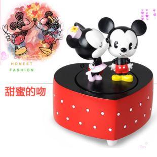 正品迪士尼Disney米奇米妮公仔旋转跳舞吻音乐盒八音盒 创意家居摆件情人节生日礼物品 送男女生