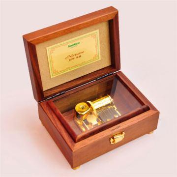 进口SANKYO23音胡桃木质音乐盒八音盒 创意生日教师节礼物品 家居摆件