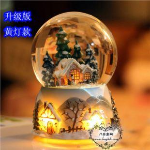 进口Sankyo炫彩灯发光雪屋水晶球音乐盒八音盒 创意生日圣诞礼物礼品 家居摆件