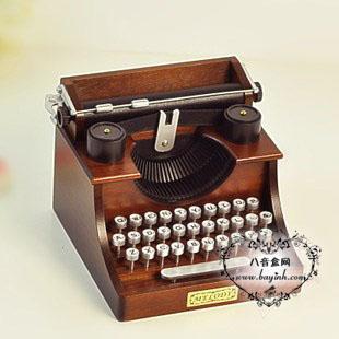 进口Sankyo18音木质复古打字机八音盒音乐盒 天空之城 创意生日礼品儿童节礼物送孩子