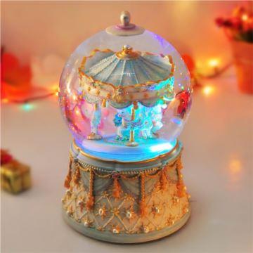 进口旋转雪花旋转木马水晶球音乐盒八音盒创意送女生日圣诞节礼物精品