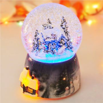 经典飘雪花发光旋转下雪屋水晶球音乐盒八音盒 创意送女生日圣诞礼物精品