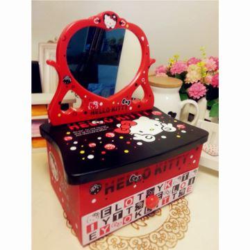 18音凯蒂猫hellokitty梳妆镜首饰盒八音盒音乐盒收纳化妆盒上 创意生日礼物品送女生