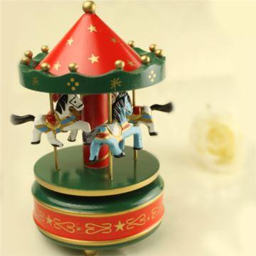 台湾木质旋转木马音乐盒八音盒天空之城创意送女生日圣诞节儿童礼物精