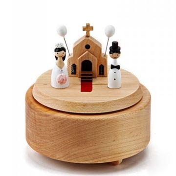 Jeancard台湾木质旋转音乐盒八音盒创意礼品男送女生朋友浪漫婚礼教堂新婚庆礼物