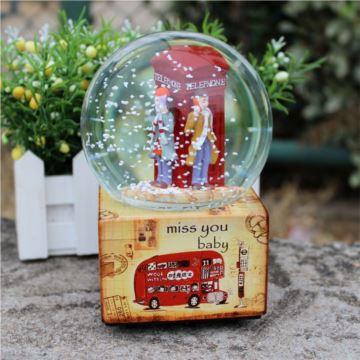 包邮复古几米雪花旋转水晶球音乐盒八音盒创意送女生日情人节圣诞礼物精