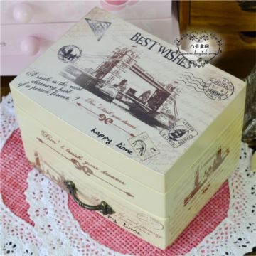 复古欧式木质旋转心公主首饰八音盒音乐收纳盒创意送女生日圣诞节礼物