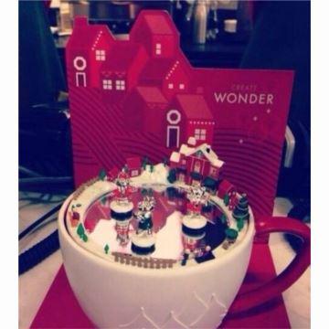Mr.Christmas星巴克圣诞屋树马克杯旋转音乐盒八音盒创意送女生日礼物