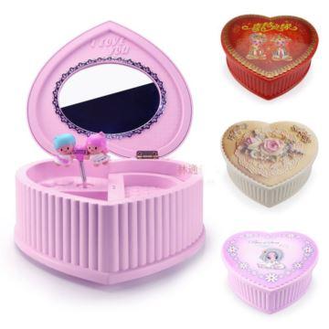可爱心形芭蕾旋转首饰盒音乐盒八音盒创意送女生日