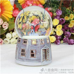 正品几米相遇旋转飘雪花水晶球八音盒音乐盒《天空之城》创意礼物 日本限量版