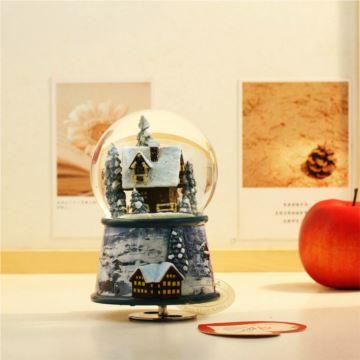 台湾万山內外旋转灯光水晶球八音盒音乐盒圣诞节创意生日礼物送男女友
