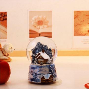 台湾万山旋转灯光雪花屋水晶球八音盒音乐盒生日创意礼品圣诞节特别礼物