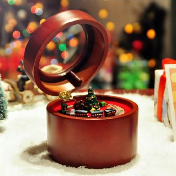 Mr.christmas正品木質旋轉小火車八音盒音樂盒創意送女生日新年禮物