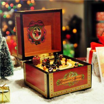 Mr.christmas木旋转发光小火车八音盒音乐盒圣诞节送儿童女生日创意礼物