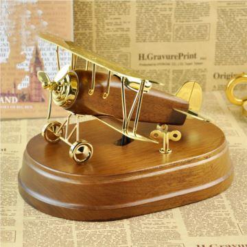 日本Sankyo木质金属复古飞机音乐盒八音盒高档商务礼品送领导创意特别礼物送老公男友