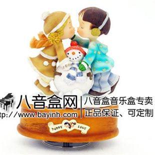 情人节礼物 台湾WSA万山《冬之恋》旋转摆饰音乐盒八音盒PL09008
