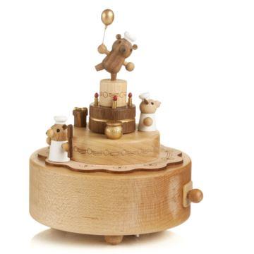 Jeancard台湾木质小熊八音盒音乐盒送男生女生日创意特别礼物家居摆件