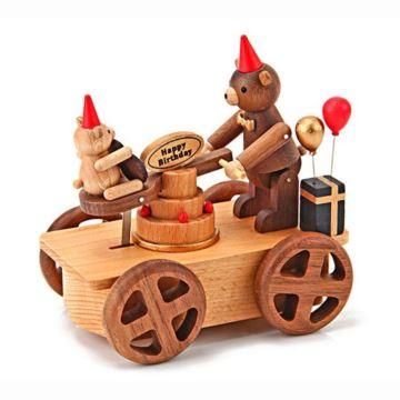 Jeancard台湾木质小红帽生日熊手摇车八音盒音乐盒送男女生日创意礼物