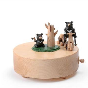 Jeancard正品枫木质黑熊骑车八音盒音乐盒送男女儿童生日礼物创意特别