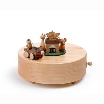 Jeancard木质欢乐动物园骑车长颈鹿八音盒音乐送男女友宝宝生日创意礼物