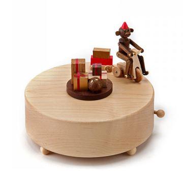 Jeancard台湾木质猴子骑单车八音盒音乐盒创意生日礼物送男女友特别