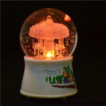 韵升18音水晶玻璃发光雪花旋转木马水晶球八音盒音乐送男女生日创意礼物