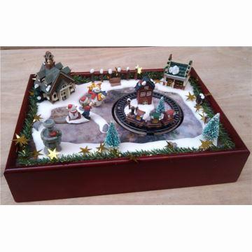 18音Mr Christams发光圣诞旋转小火车八音盒音乐盒生日创意礼物圣诞节礼品