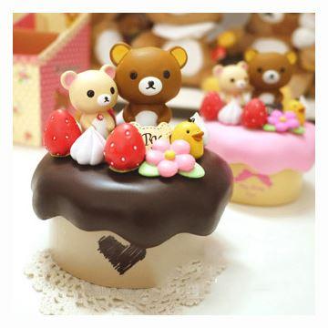 ILOVEST可爱卡哇伊泰迪熊小熊轻松熊懒懒熊旋转音乐盒八音盒生日情人节礼物巧克力色