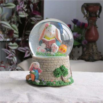 卡通可爱树脂小兔水晶球八音盒音乐盒送女生日礼物儿童礼品创意摆件