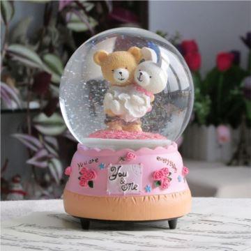 可爱泰迪熊带雪花旋转水晶球八音盒音乐盒天空之城送女孩生日创意礼物