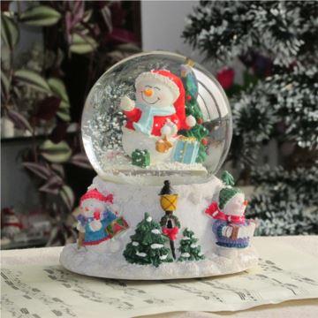 Sankyo雪花旋转圣诞老人水晶球八音盒音乐盒送男女生日创意礼物圣诞节礼品