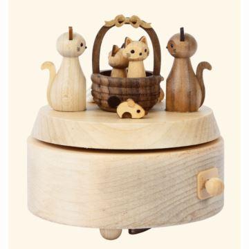 Jeancard台湾枫木质猫咪旋转音乐盒八音盒送宝宝儿童女生日创意礼物