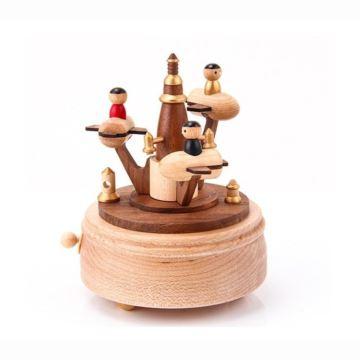 Jeancard台湾枫木质旋转宇宙太空船八音盒音乐盒创意生日礼物送男女生