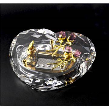 雷曼士50音水晶玫瑰音乐盒八音盒情人节礼物送女生日结婚创意礼品定制