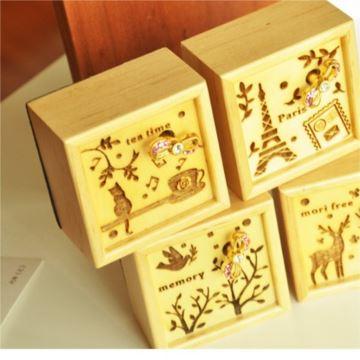 韵升原木质复古雕花音乐盒八音盒送男女生日礼物创意礼品装饰摆件